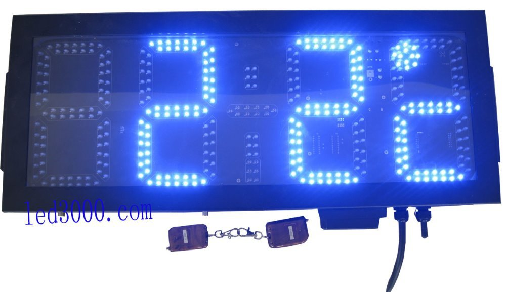free shipping large size outdoor waterproof 8inch 4digits blue color time and temperature clock(HOT4-8B)free shipping large size outdoor waterproof 8inch 4digits blue color time and temperature clock(HOT4-8B)