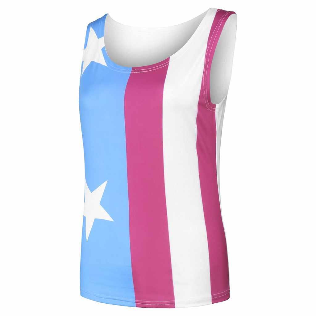 Camiseta sin mangas con cuello redondo sin mangas a la moda con estampado de bandera americana de estrella de rayas patrióticas para mujer haut femme en 2019 #30