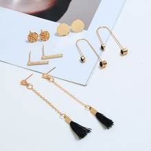 Bohopan 6PCS/Set Gold Color Long Chain Tassel Earrings High Quality Round Stud For Women Unique Style Ear Jewelry Trend