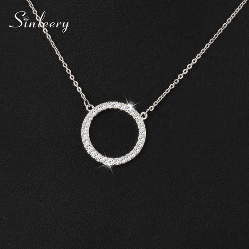 Sinerery błyszczące betonowa Tiny Crysral koło okrągłe naszyjniki srebrna róża złoty kolor łańcuch biżuteria dla kobiet XL089 SSB