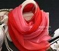 Красный Розовый Цвет Градиента Шарф Бренд Имена Женщин 100% Чистого Шелка Оголовье Магия мусульманских underscarf Моды Летний Шарф Шелковый Платок