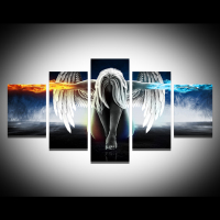 QK ART 5 Pieces Figure Painting Canvas Art Wall Pictures For Living Room Home Decor Angel