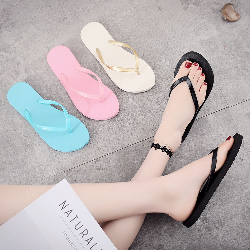 Summer Fashion Flat Bottom Anti-Slip Cool Slippers Simple Pure Color Students Wearing A Foot Korean Version Of Beach Shoes