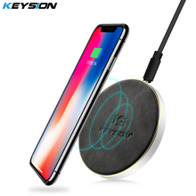 KEYSION 10.8W Qi fast Wireless Charger CNC metal PU leather Quick Charging Pad for iPhone X 8 8Plus for Samsung S9 S8 S7 Note8 7