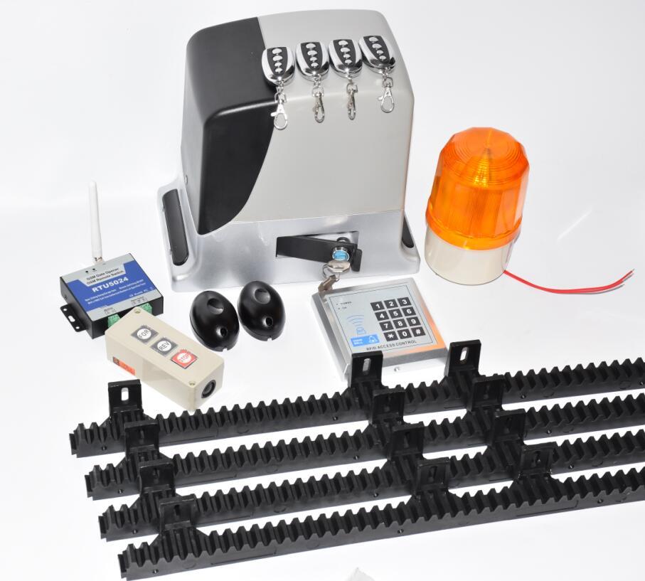 Rack Driven Sliding Gate Opener For Gates Up To 600kg AC220V Only Slide Door Gate Motor With 4m Nylon Racks
