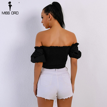Missord 2018 Summer Sexy Women's New Off Shoulder Bandage Short-Sleeved T-shirt Top FT9052