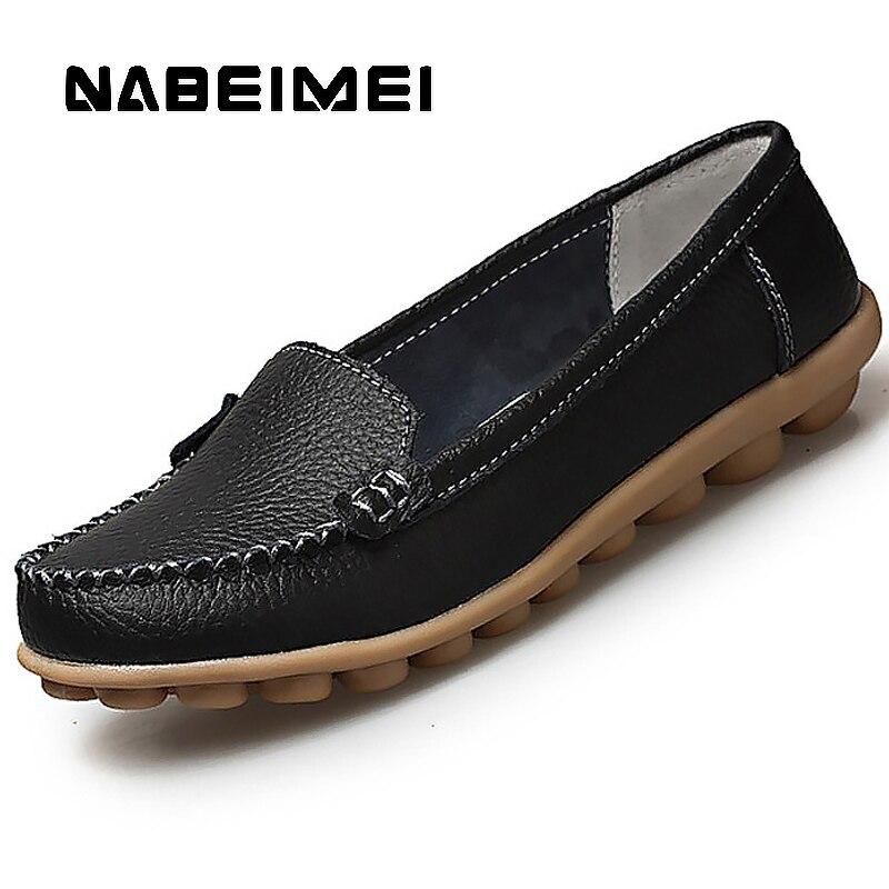 46744fe5b3951 Véritable chaussures en cuir Femme Doux chaussure bateau pour mocassins  plats pour femmes chaussures grande taille 35 44 mocassins pour femmes Non  ...