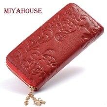 Miyahouse Fashion Genuine Leather Women Long Purse Flower Embossing Female Zipper Wallet font b Money b