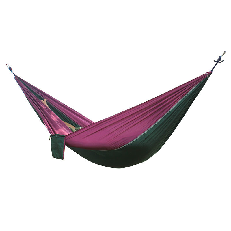2 People Portable Parachute Hammock for outdoor CampingDark green with purple side 270*140 cm