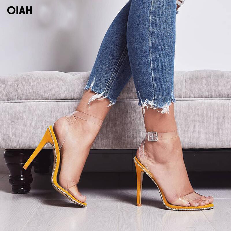 2018 women PVC high heels party shoes transparent strappy sandal studded perspex heel sandals open toe faux suede PVC sandals enmayla womens high heels shoes summer ladies gladiator sandals women faux suede open toe rhinestone strappy sandals shoes woman