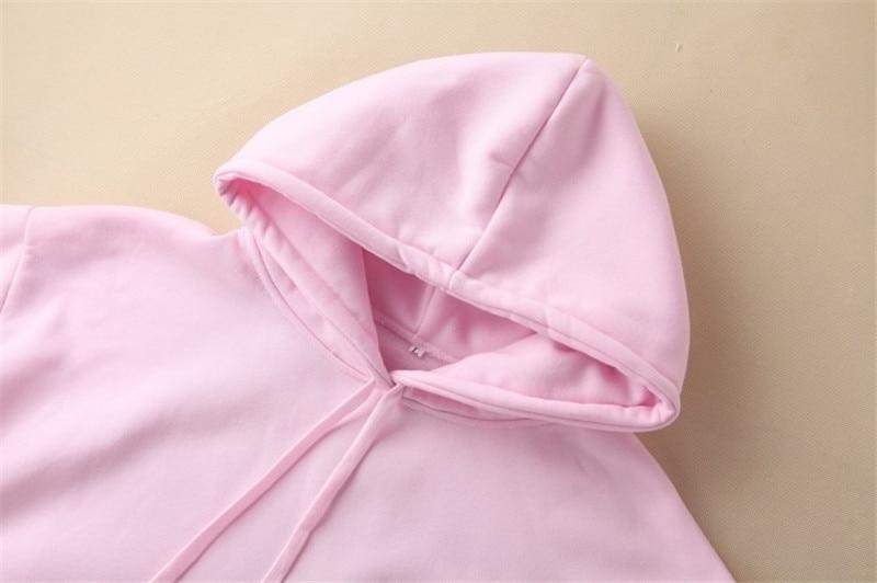 Hooded Tops Women's Sweatshirt Long-Sleeved Winter Velvet Thickening Coat 55