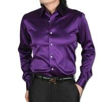 S 2XL 21colors free shipping 2015Korean silk satin long sleeve shirt for men shiny dance slim fit mens shirts camisa masculina