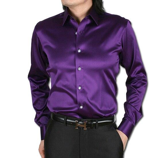 S - 2XL 무료 배송 2015Korean 남성용 실크 새틴 긴팔 셔츠 샤이니 댄스 슬림 피트 망 셔츠 남성 캐미 사