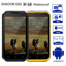 DIGOOR DG2 Plus Waterproof Smartphone Android 4.4 Quad-Core 3G Rugged Phone 2MP/8MP with 1GB RAM 8GB ROM Wi-Fi Mobile Phone