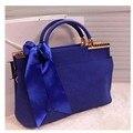 New fashion women handbag korea style ribbons ladies shoulder bag pure women messenger bag faux suede clutches
