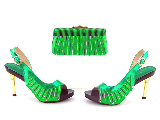 a4b1b756d0 US $98.83   HMS0033 bright green 4.4 inches sandal shoes with matching  clutches bag fashion newest design italian shoes and bag set aso ebi-in  Women's ...