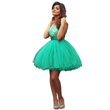 Vestidos De Festas 2016 Curto Cocktailkleid Grün Short Prom Ballkleid Kleider Scoop Sheer Spitze Appliqued Sexy Party Kleider