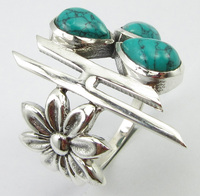 Silver Women's Wholesale Jewelry Natural Drop Turquoises Ring Size 9 Unique Designed
