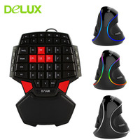 Delux T9 Gaming Keyboard Mini 47 keys Keypad M618 Plus Ergonomic Vertical Mouse Gaming Mouse Mice for PC Computer Gamer Mouse