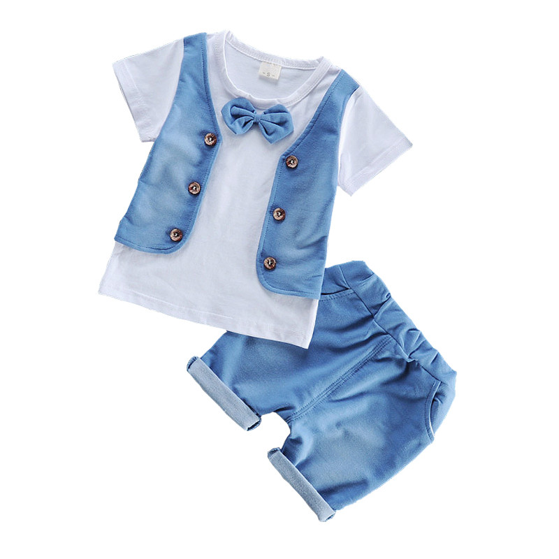 Summer Baby Boys Clothes with Tie Kids Short Sleeve Clothing Set Toddler Boys T-Shirts+Children Shorts Cotton Children Clothes  summer t shirts for boys cotton kids shirts dinosaur short sleeve pullover clothes v neck boy t shirt fashion children clothing