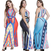 2019 sexy women dress hanging neck off shoulder strap digital printing dresses plus size