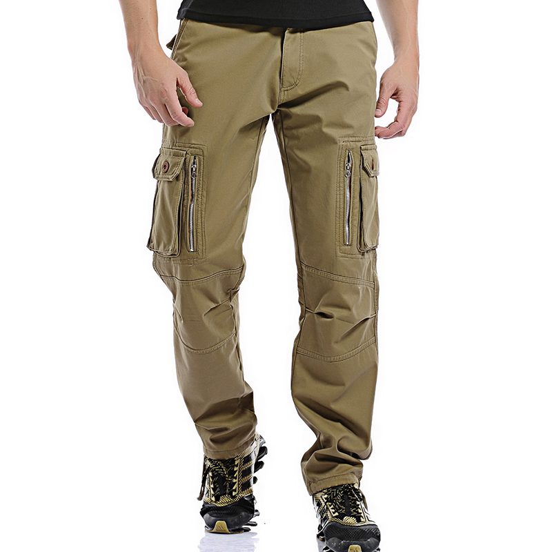the best attitude hot-selling newest buying new US $30.78 30% OFF|2017 Fleece Warm Winter Cargo Pants Men Casual Loose  Multi pocket Men's Military Army Green Khaki Pants Trousers for Worker  Men-in ...