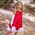 2016 Nuevo Navidad Mullidas Dobladillo Lentejuelas Traje de Niña Vestido de Princesa de Las Muchachas Ropa Del Bebé arropa la Ropa de Navidad Traje de Fiesta