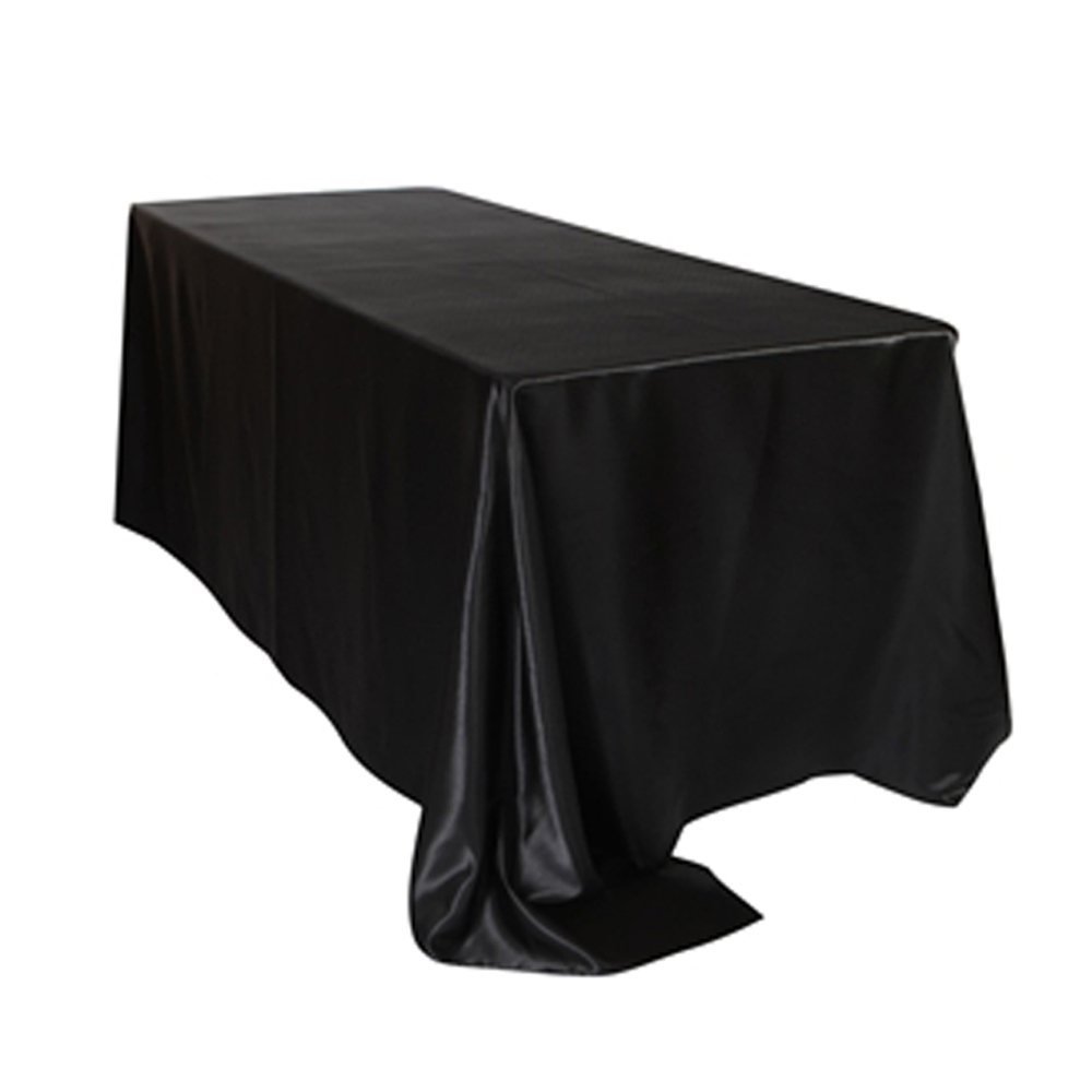 5pcs Pack 57 x 126 inch Rectangular Satin Tablecloth White Black Table Cover for Wedding Party