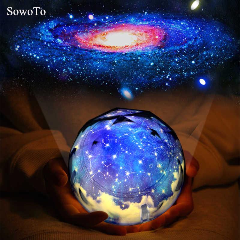 Новый цветной Межзвездный креативный Ночной свет, волшебная планета, проектор, Вселенная лампа, светодиодный, музыка, вращающийся, мигающий Звездный проектор, Рождество