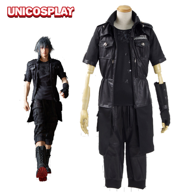 final fantasy xv noctis lucis caelum cosplay costume ff15 black jacket suit male female adult halloween outfit any size