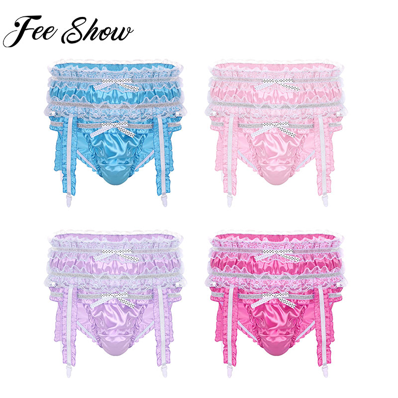 Mens Sexy Lingerie Soft Shiny Satin Ruffled Frilly Low Rise Stretchy Sissy Bikini Briefs Underwear Panties with Garters