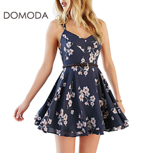 DOMODA Sweet Floral Print Mini Dress Sexy Cross Back Cami A-Line Dresses Fashion Casual Backless Crew Neck Beach Vestidos