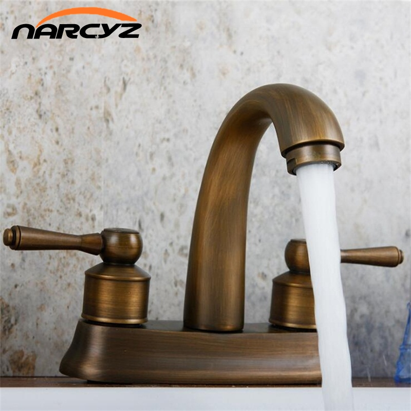 Narcyz Basin Faucets Brass Antique Black Deck Mounted Kitchen Bathroom Sink Faucets Dual Handle Hot and