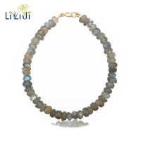 LiiJi Unique Natural Stone Shining Labradorite Approx 2x5mm 925 Sterling Silver Bracelet