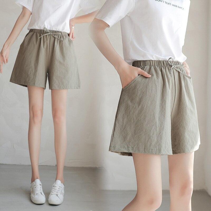 Brand Chic Loose Cotton Linen Short   Pants   Women   Capris   Wide Leg   Pants   Breathable Slim Korean Leisure Hallen   Pants   Solid Color