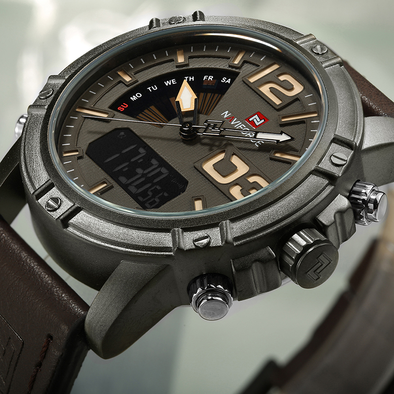 Men Sports Watches Waterproof Quartz Clock Male Leather Wrist Watch