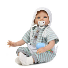 Silicone 22 Inches Realistic Reborn Baby Doll Boy Lifelike Blue Eyes Newborn Baby Dolls For Kids Playmate Birthday Best Gift