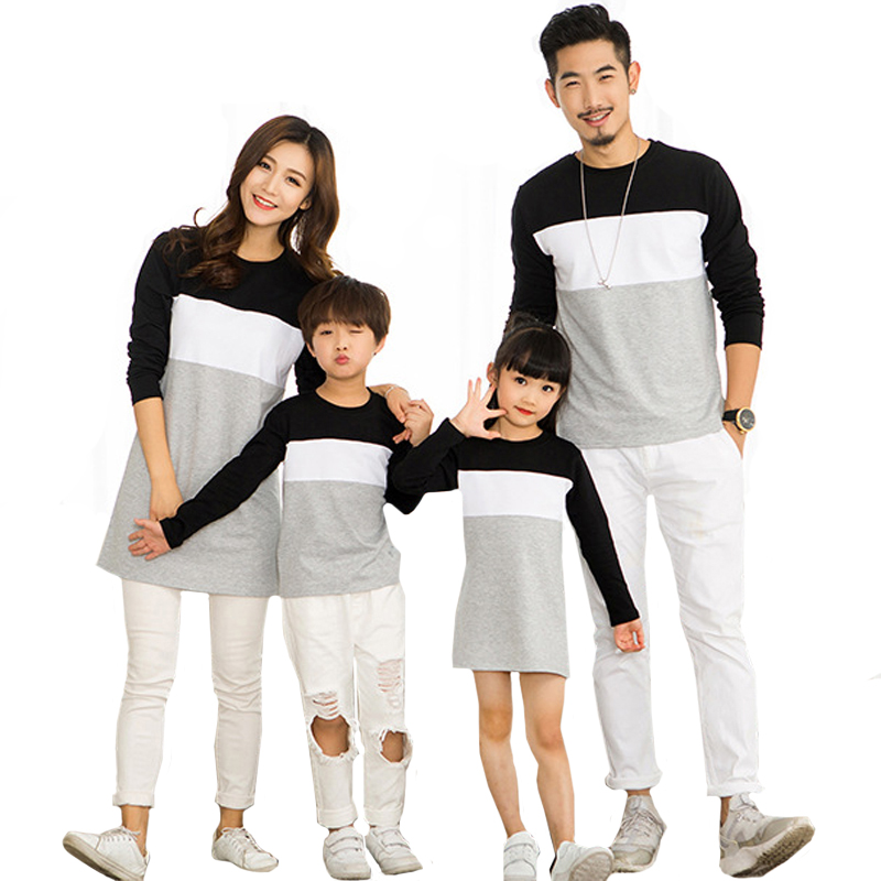 Family Look Mother Daughter Dress Family Clothing Father Son T-Shirt Cotton Patchwork Striped Family Matching Outfits Clothing