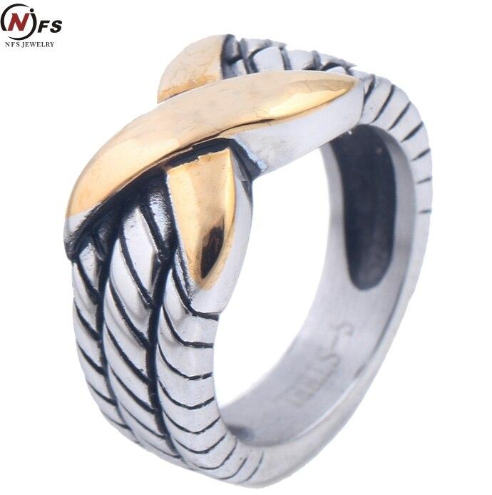 ea37b1d59f67 NFS antiguo acero Titanium del anillo de las mujeres Anillos Infinite logo  316l Acero inoxidable retro Anillos cuerda crossover x Anillos