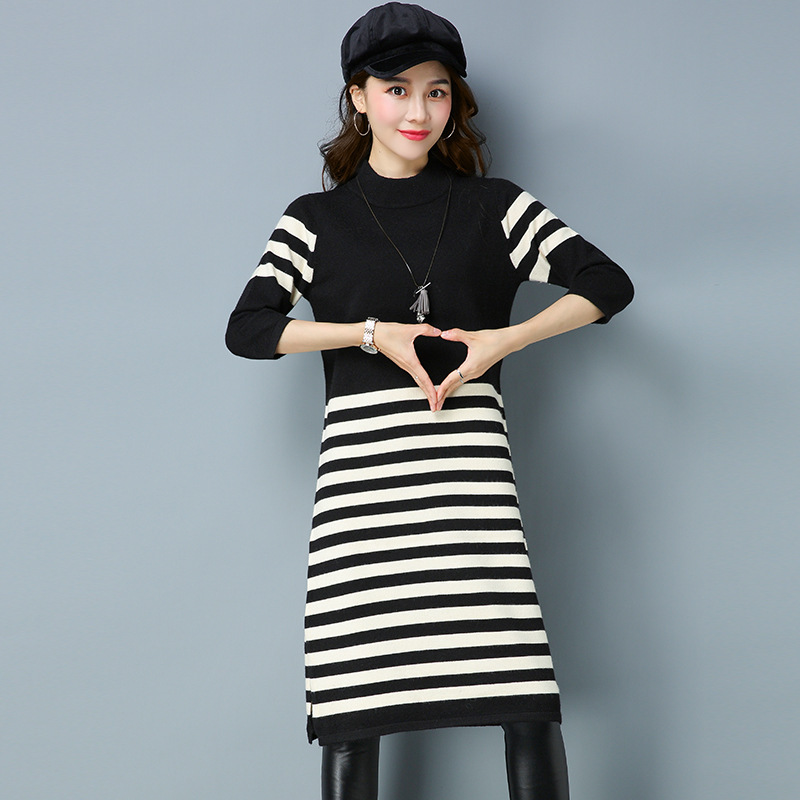 2018 Spring Autumn Women Sweater Dress Half Turtleneck Long Sleeve Knee-length Knitted Dress Striped Women Long Sweater women turtleneck front pocket sweater dress