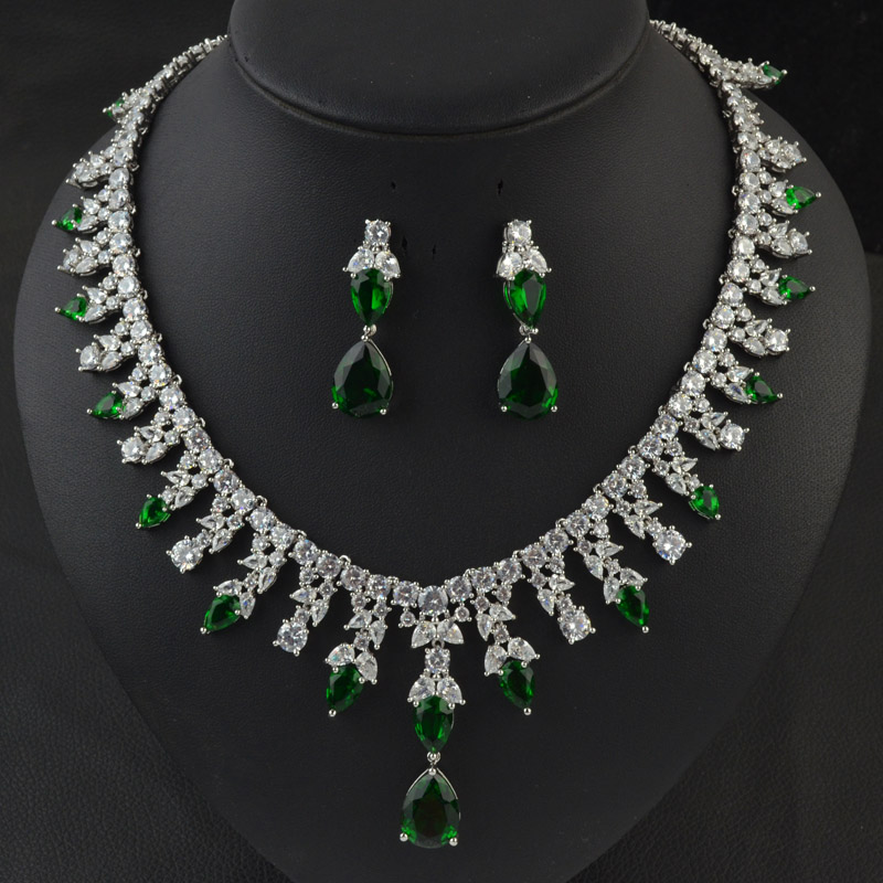 White/red/green/blue color Cubic Zirconia wedding bridal jewelry set,high quality fashion party/wedding necklace earring set