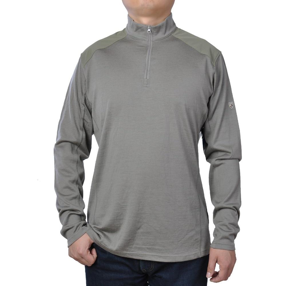 2019 Man Wasbare Merino Wol Mannen 1/4 Zip Out deur Geur Vechten Trui Warme Thermische Warmte Lange Mouw duim loops shirt Tops-in T-shirts van Mannenkleding op  Groep 1