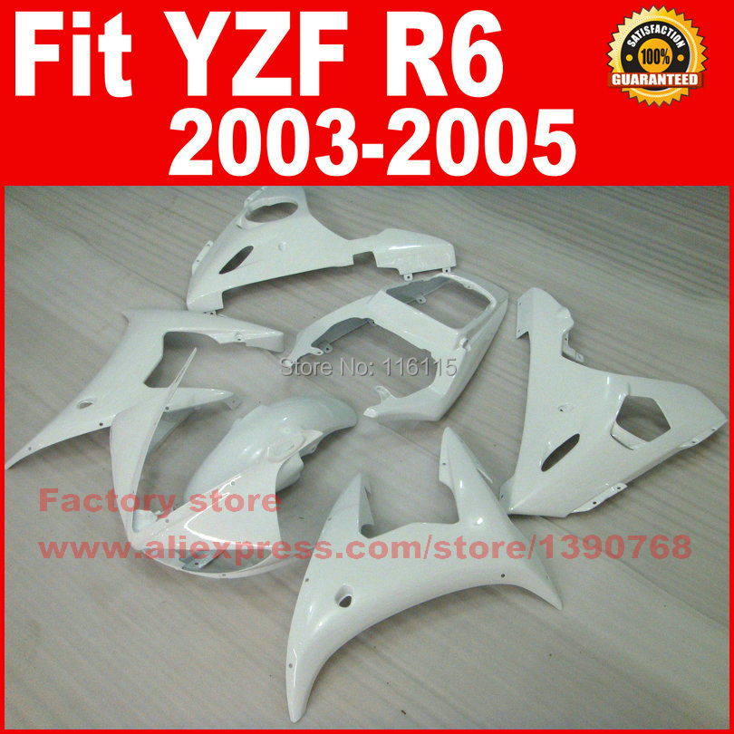 All white body parts for YAMAHA R6 fairing kits 2003 2004 2005 YZF R6 fairing kit 03 04 05 B65