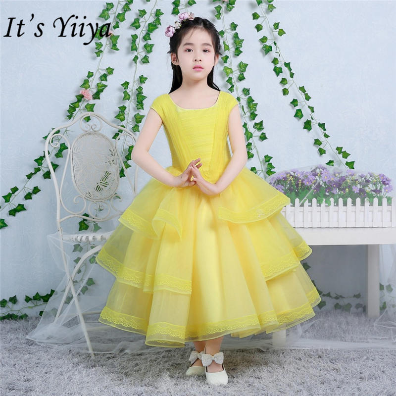 It's yiiya Fashion Tiered Yellow   Flower     Girl     Dresses   Elegant O-neck   Girls     Dress   TS208