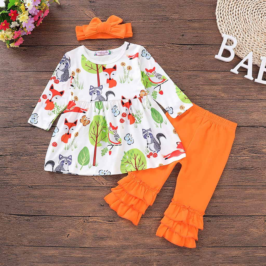 Mother & Kids Industrious Infant Toddler Autumn Baby Girl Clothing Sets Cartoon Fox Print Tops Dress Ruched Pants Headband 3pcs Clothes Outfits Set To Reduce Body Weight And Prolong Life Girls' Clothing