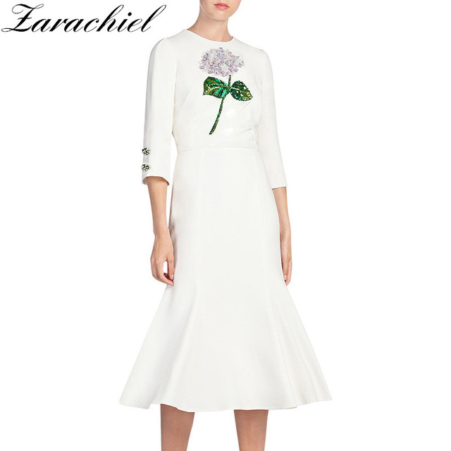 50305b71ca1 Zarachiel Spring Autumn Runway Women White Dress Manual Flower Embroidery  Beading Sequined Slim Elegant Mid-Calf Trumpet Dress