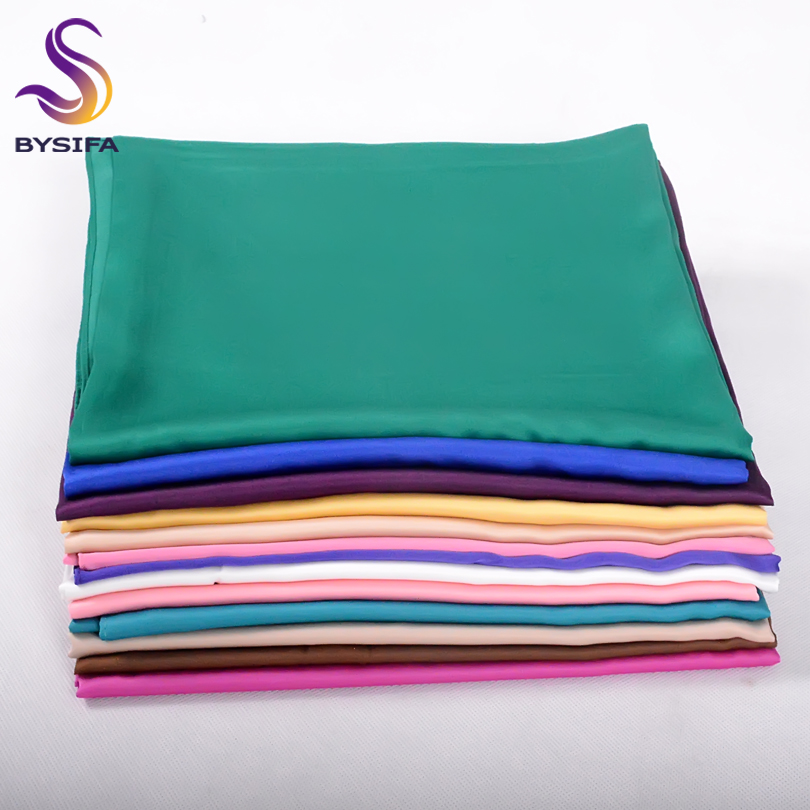 [BYSIFA] New Solid Color Women Large Square Scarves Wraps 100*100cm Autumn Winter Luxury Matt Satin Silk Scarf Brand Head Scarf