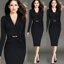 Artı Boyutu 4XL 2016 Sonbahar Kış Ofis Hanım Iş Resmi Midi Bodycon Elbise Siyah Mavi Zarif Çentikli ile Kalem Elbise kemer
