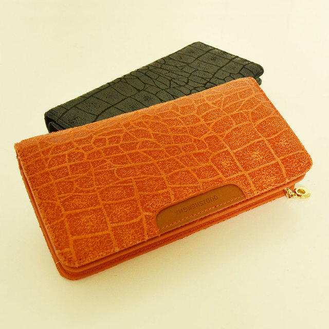 Genuine Leather Stone Pattern Long Wallet for Women Clutch Small Leather Bags Free Shipping