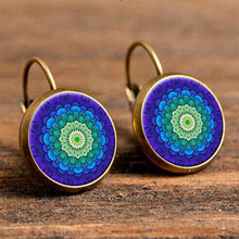 Vintage Kaleidoscope Flower Drop Earring for Women Blue Purple Indian Mandala Pattern Round Eardrop Wholesale Brincos 2018